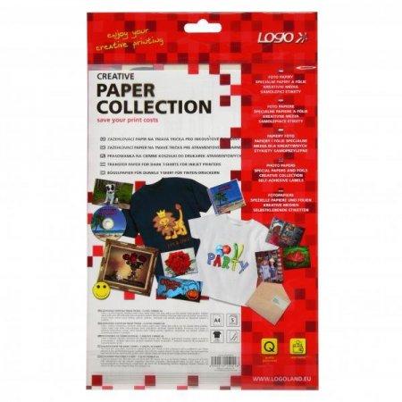 Nažehlovací papír, pro tmavá trička, bílý, A4, 5 listů, pro inkoustové tiskárny
