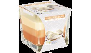 Vonná svíčka Vanilla - cupcake tříbarevná ve skle