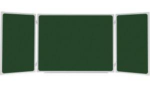 Trojdílná zelená magnetická tabule 150x100/300 cm, keramická, ALU rám