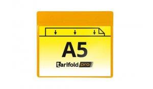 magnetická identifikační kapsa A5, otevřená bokem, PVC 350 µm, žlutá - 10 ks