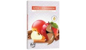 Vonná čajová svíčka Jablko - Skořice 6 ks v krabičce
