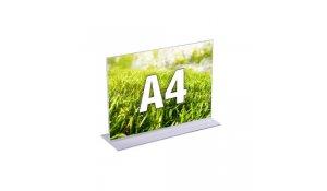 Plexi stojánek kolmý T, formát A4, orientace na šířku, balení 5ks