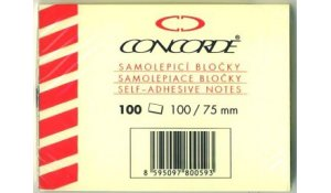 Bloček samolepící Concorde - 75x100 mm, 100 lístků