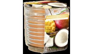 Vonná svíčka Mango-Kokos vlnkované sklo