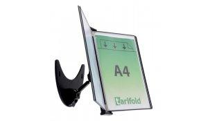 3D kovový držák s ramenem, 5 kapes A4, otevřené shora, černé