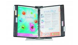Sterifold - pultový nerezový stojan, antibakteriální, 10 kapes A4, otevřené shora, černé