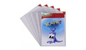 Kang Easy Clic - samolepicí kapsy, A4, nepermanentní, červené - 5 ks