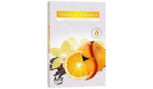Vonná čajová svíčka Vanilka - Pomeranč 6 ks v krabičce