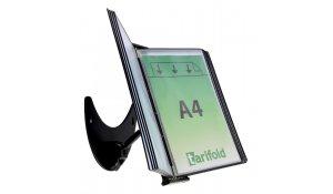 3D kovový držák s ramenem, 10 kapes A4, otevřené shora, černé