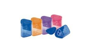 Ořezávátko plastové dvojité se zásobníkem mix barev