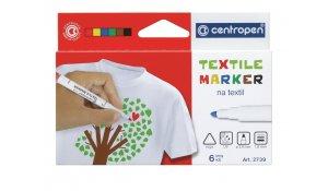 Značkovač na textil, Centropen 2739, sada 6 barev