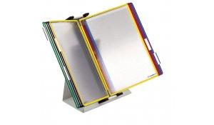 pultový kovový stojan (lze použít i jako nástěnný držák), 10 kapes A4, otevřené, mix barev