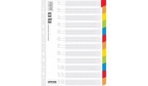 rozlišovač s laminovanými indexy, A4, karton, 12 listů, bílý