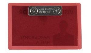 jmenovka samolaminovací, s magnetem, se štítky, PP, 66x100 mm, červená - 25 ks